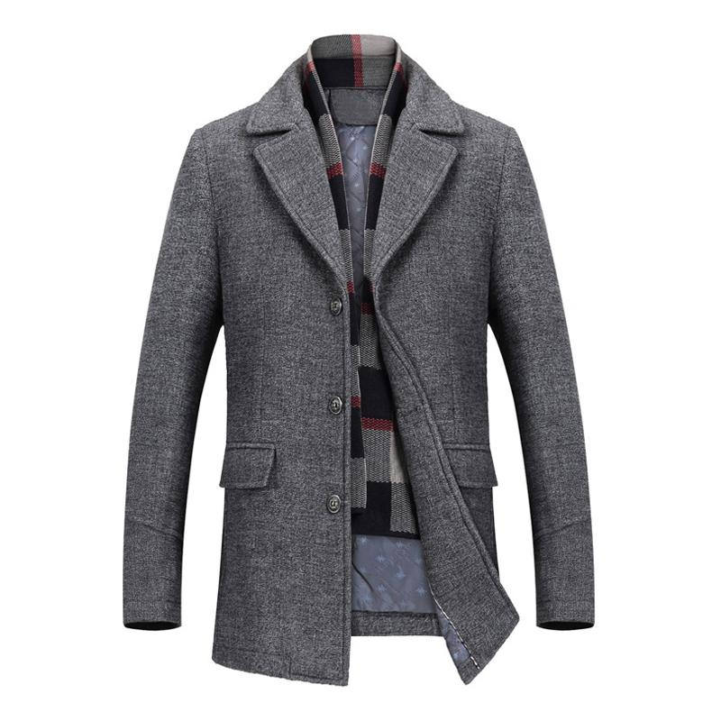 2018 Autumn Winter Fashion Men Woolen Slim Windbreaker Jacket  New Men's Long Wool Coat Business Casual clothes