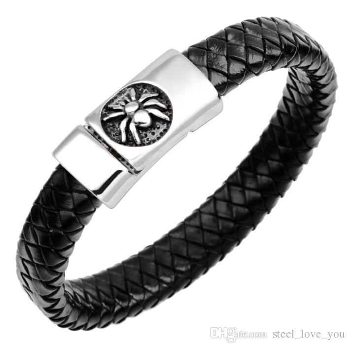 (In stock) Hot Sale Mens Weave Chain Wristband Stainless Steel Leather Bracelet Men Classic Spider Bracelets Bangle Jewelry Wristband Jewelr