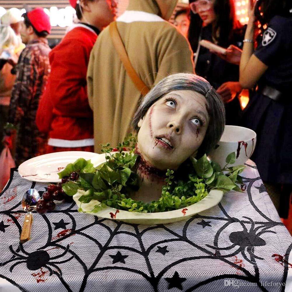 40-Zoll Schwarz Spinne Halloween Party Decor Spitze Tisch Topper Tuch für Halloween Tischdekoration Scary Film Nächte Party