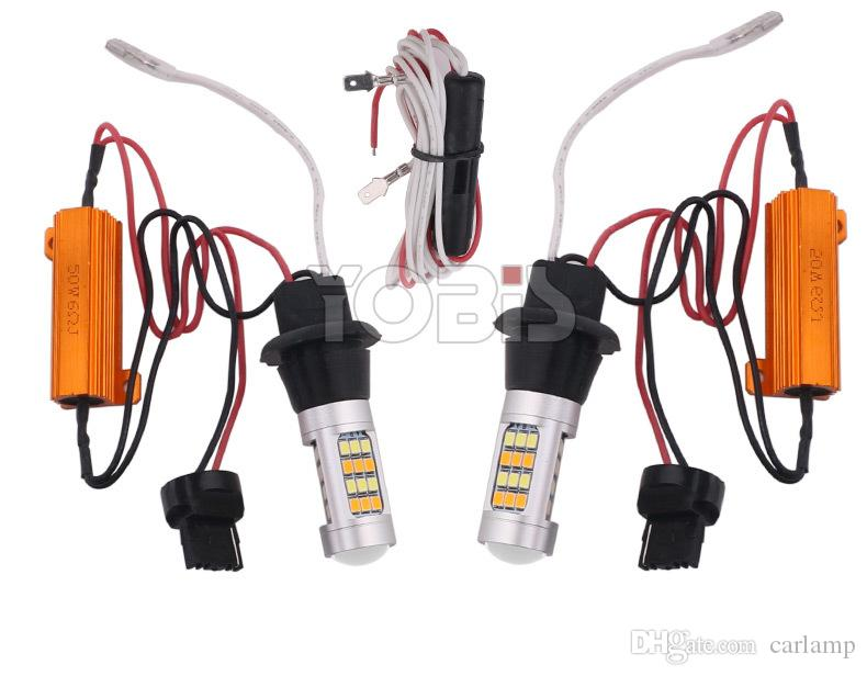 1156 BA15S 2835 42SMD P21W S25 White/Amber 30W LED Bulb Turn Signal Lights Dual Color Error Free Canbus Bulb