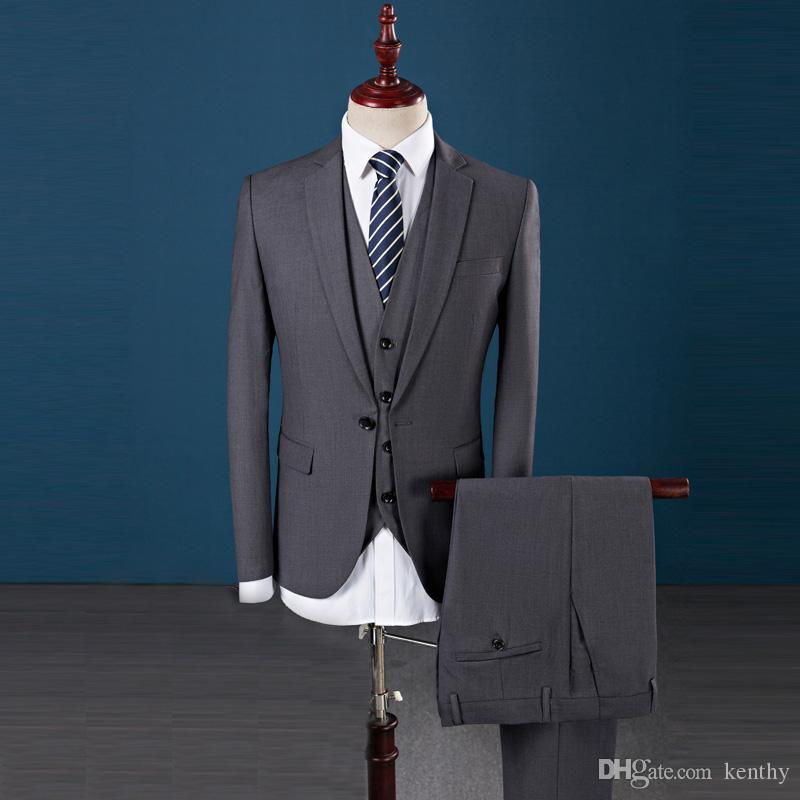 Grey Custom Made 2018 Men Suits Wedding Suits For Man Bridegroom Groom 3 Pieces Jacket+Vest+Pants Slim Fit Formal Tuxedos Suit Male Best Man