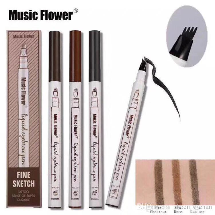 Music Flower Liquid Sopracciglio Penna Sopracciglio in polvere 3 colori Sopracciglio Enhancer Trucco di marca di alta qualità Impermeabile spedizione gratuita Disponibile