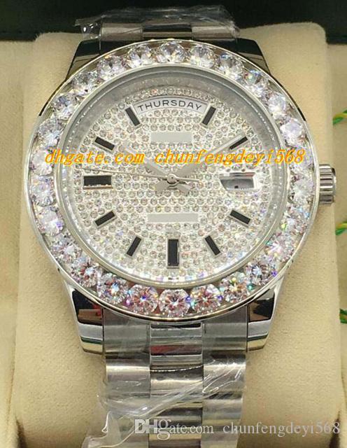 Luksusowe zegarki 18K Biały Gold Diamond Dial 41mm Większy Diament Bezel Automatyczne Moda Marka Męska Zegarek Zegarek