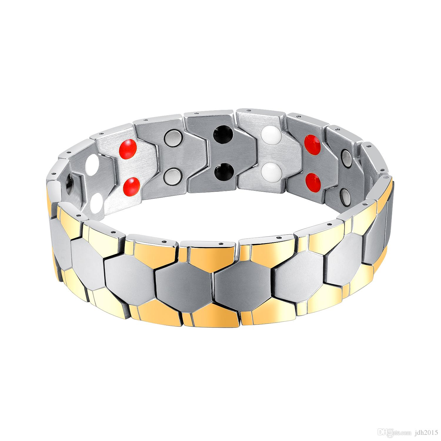 Masculine Men Stainless Steel Dual Row Magnets Powerful Bracelet