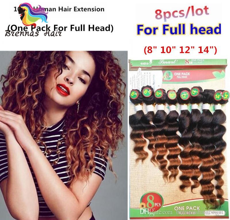2018 New Arrival 8pcs Lot Unprocessed Virgin Loose Wave Burgundy Hair Weave Bundles Short Ombre Human Hair Extensions Deep Wave UK