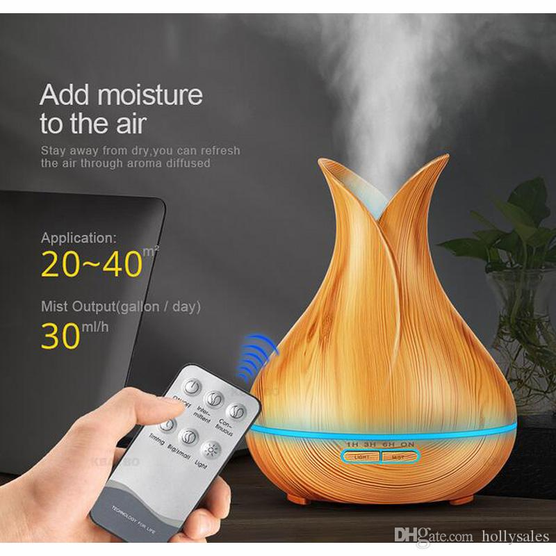 400ml LED Aroma Essential Oil Diffuser Ultrasonic Air Humidifier conditioners with Wood Grain 7 Color Changing LED Lights Mist Maker