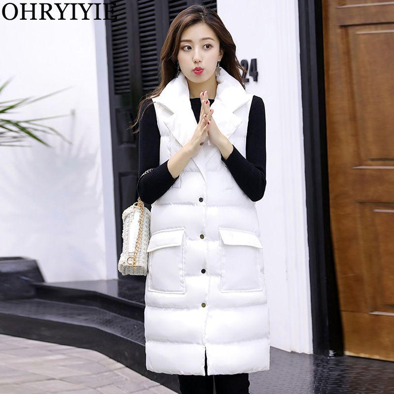 OHRYIYIE White/Black Women Autumn Winter Vest Waistcoat 2018 New Long Vest Female Cotton Warm Sleeveless Jacket Women's Vests
