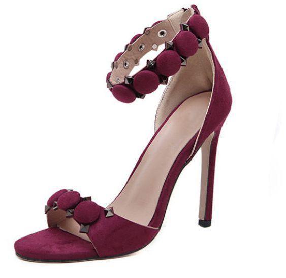 11 cm fino sapatos de salto alto sandálias de verão mulher vinho vermelho preto estilo europeu XF107 plus size 4142 sandálias das mulheres sapatos