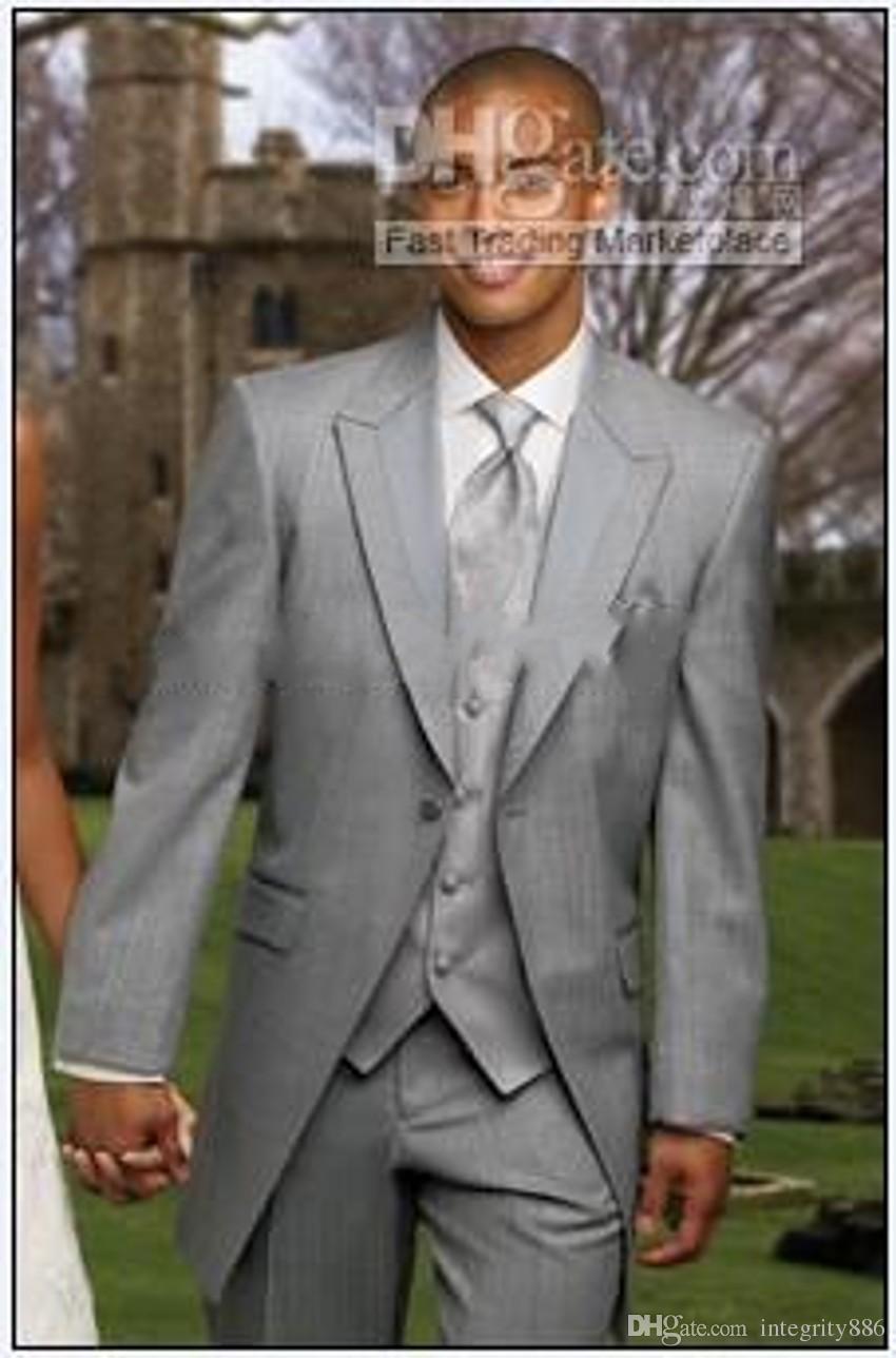 Fashion Long Design Light Grey Men Tuxedos Excellent Groom Tuxedos Men Dinner Prom Party clothes 3 Piece Suit(Jacket+Pants+Tie+Vest) 779