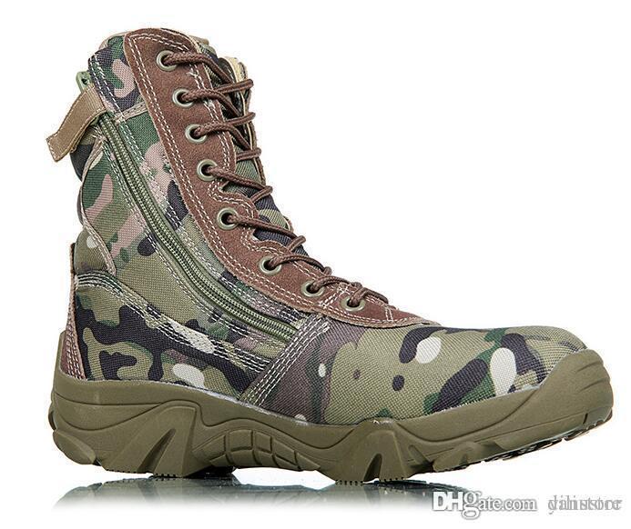 Botas de camuflagem quente soldados especiais botas táticas campo de batalha de alta botas de deserto outono inverno novo produto sapato de montanha tamanho US8-US12 d