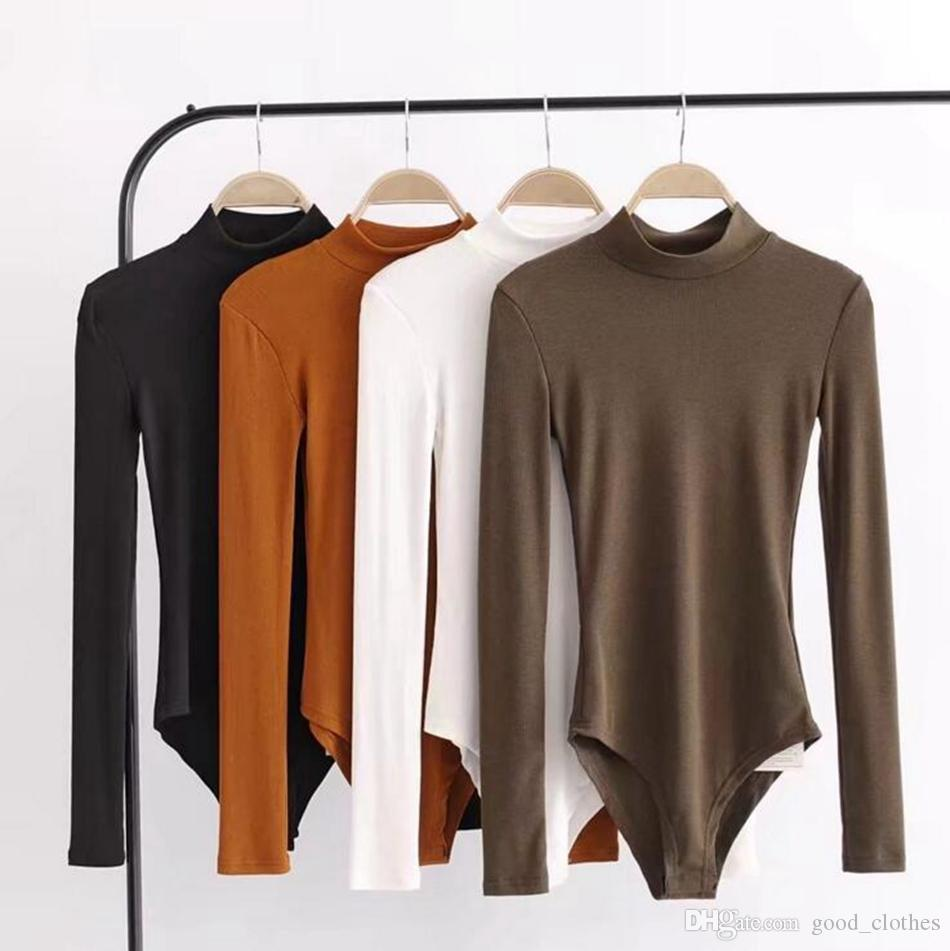 Women Sexy Bodysuit Autumn Body Suit Mock Neck Long Sleeve Bodysuit Party Tops Rompers Womens Jumpsuit 4 Colors LJJO4314