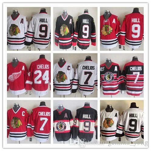 Vintage Detroit Red Skrzydła 24 Chris Chelios Jerseys Hockey Retro Classic Blackhawks 7 Chris Chelios 9 Bobby Hull Hasted Jersey MIX Zamówienie