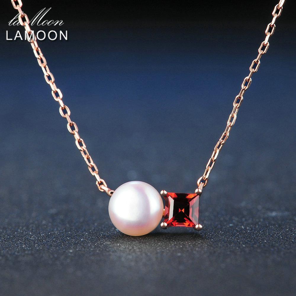 Lamoon Simples 100% Natural Red Garnet Pérola de Água Doce de Prata Esterlina 925 Cadeia Pingente de Colar S925 LMNI054 Y1892806