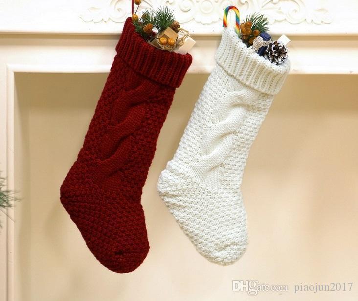 2 Takım Noel Çorap Kırmızı ve Beyaz Örgü güzel bağbozumu ek Noel Dekor