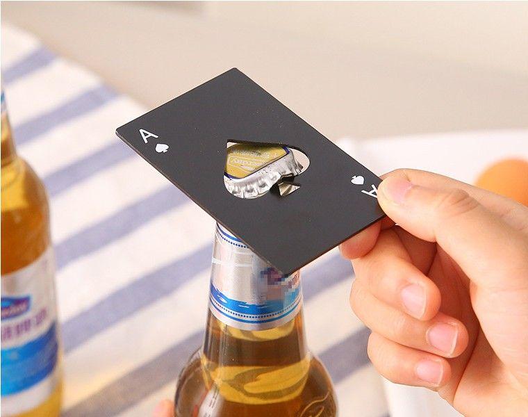 فتاحة بطاقات البوكر الفولاذية التي لا تصدع أدوات بار بطاقات الائتمان الصودا زجاجة البيرة فتاحة الهدايا أدوات المطبخ