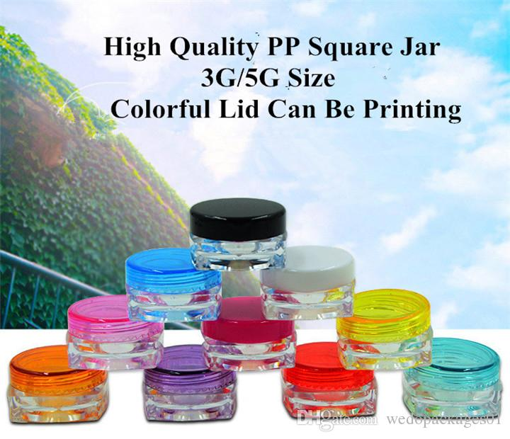 Free shipping 3g 5g plastic pot clear square base bottle with colorful round glossy lid, portable travel PS plastic mask paper container jar
