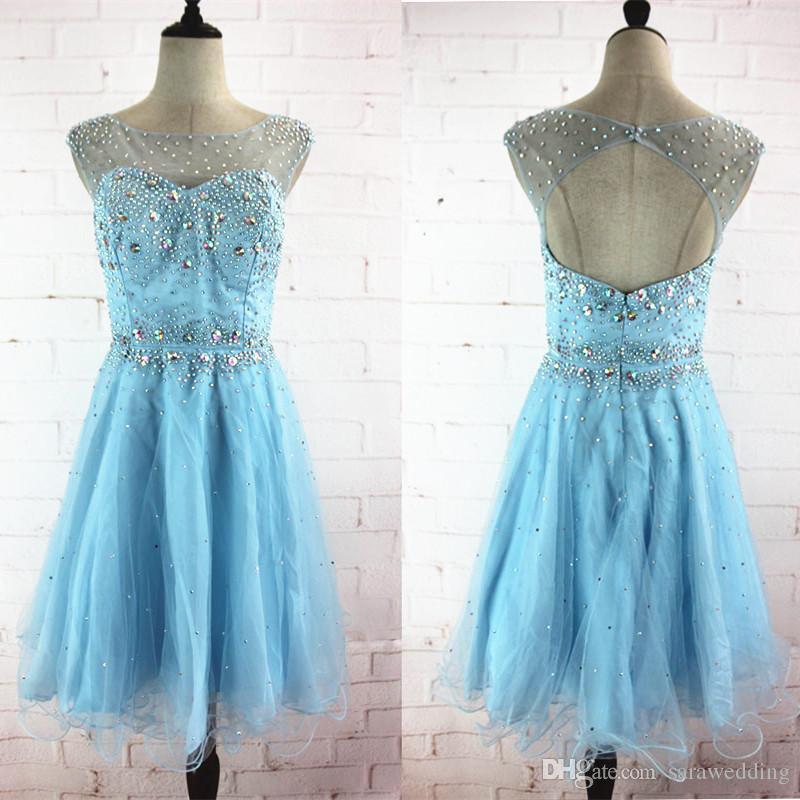 Бисером Кристалл совок шеи бальное платье Homecoming платья с открытой спиной небесно-голубой длиной до колен платья партии короткое платье выпускного вечера