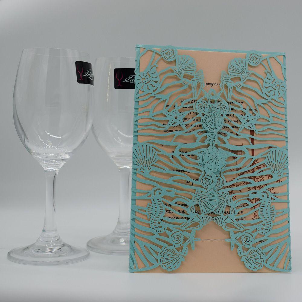 Invitación azul de la boda del banquete de boda personalizada hueco Tarjetas para imprimir tarjetas de invitación con ENVÍO GRATIS sobre libre IMPRESIÓN