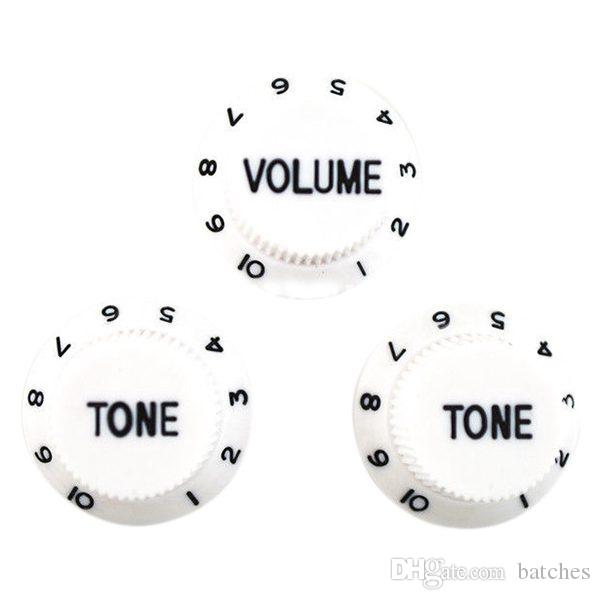 White Black 1 Volume&2 Tone Guitar Control Knobs For Strat Style Guitar-MUSIC