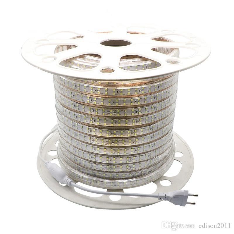 Edison2011 SMD 2835 220V Led 슈퍼 밝은 180led / m 스트립 빛 더블 행 흰색 타이어 Led 테이프 방수 + 전원 플러그 무료 선박