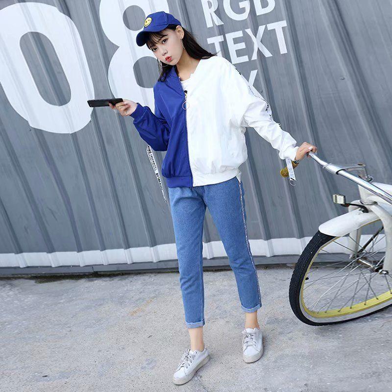 2018 Vogue Autumn Jacket Cakes Harajuku Giacche Stile Hip Hop Manica lunga Personalità sottile Capi casual Abbigliamento donna coreano