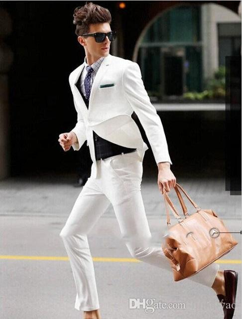 White Men Suits Blazer With Pants Tuxedos Custome Homme Masculino Ternos Handsome Young Daily Wear Suits (Jacket+Pants+Vest+Tie)