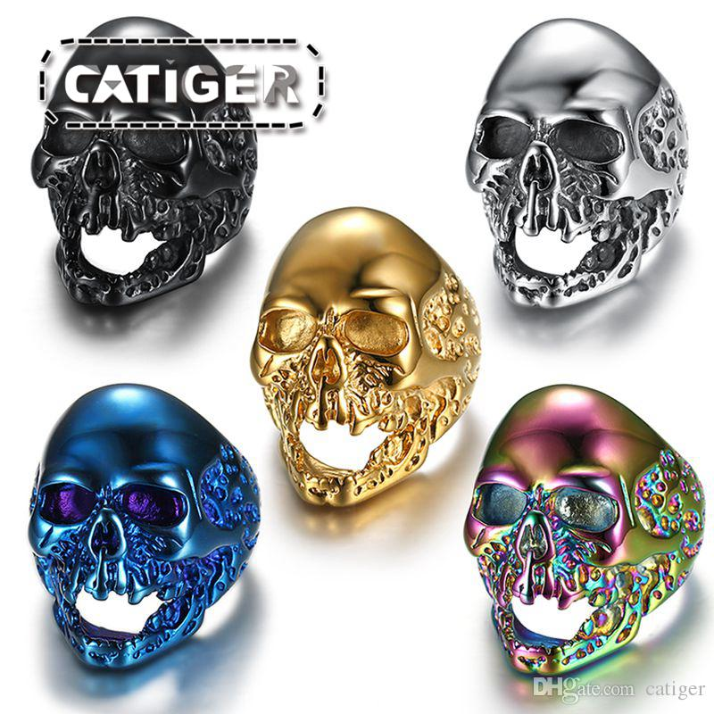 Free Shipping! Punk 316L Stainless Steel Silver White and Black Plated Gold Plated Skull Biker Rings Jewelry