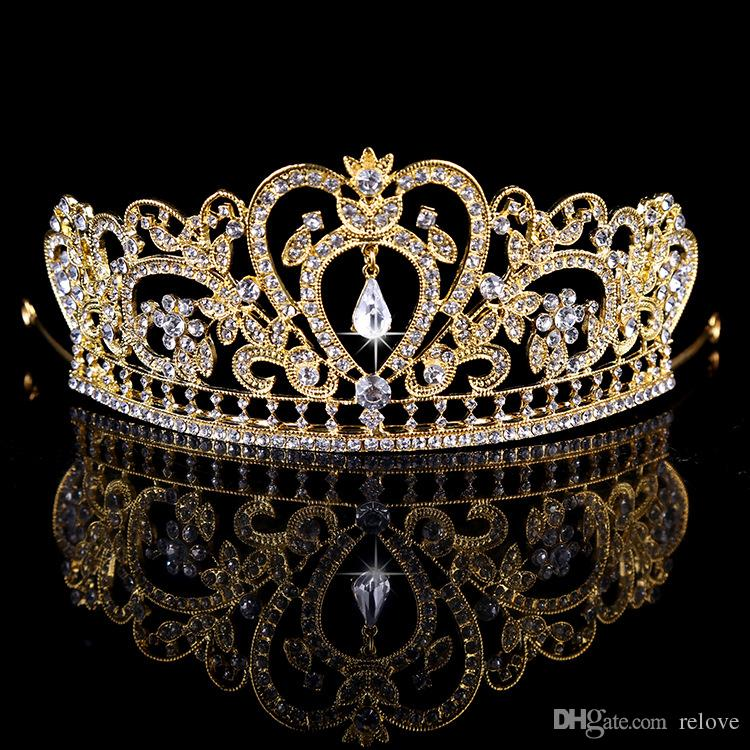 Gorgeous Princess 2018 Wedding Crowns Bridal Jewel Headpieces Baroque Tiaras For Women Silver Gold Crystal Rhinestone Hair Headbands