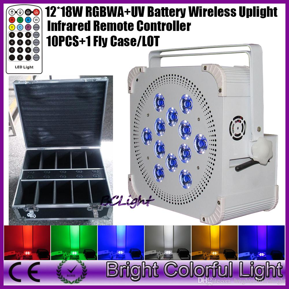 10PCS + flight case Newest 12*18w RGBWA+UV 6 IN 1 Battery Wireless led par lights uplights with Infrared controller LCD display