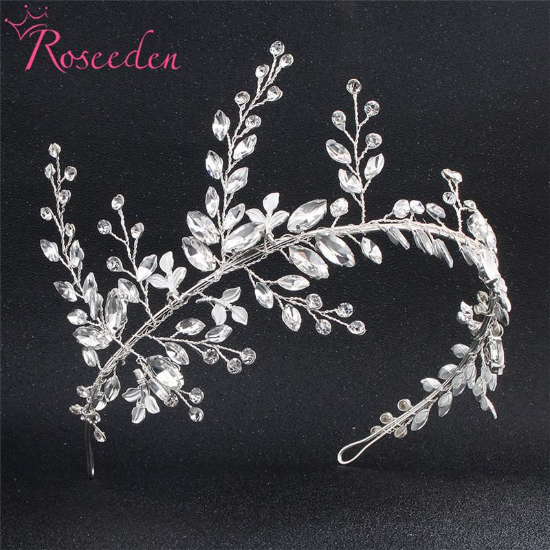 Bridesmaids Bride Tiara Crown Handmade Silver Leaf Wedding Headband Women Wedding Hair jewelry headpiece RE775 S919
