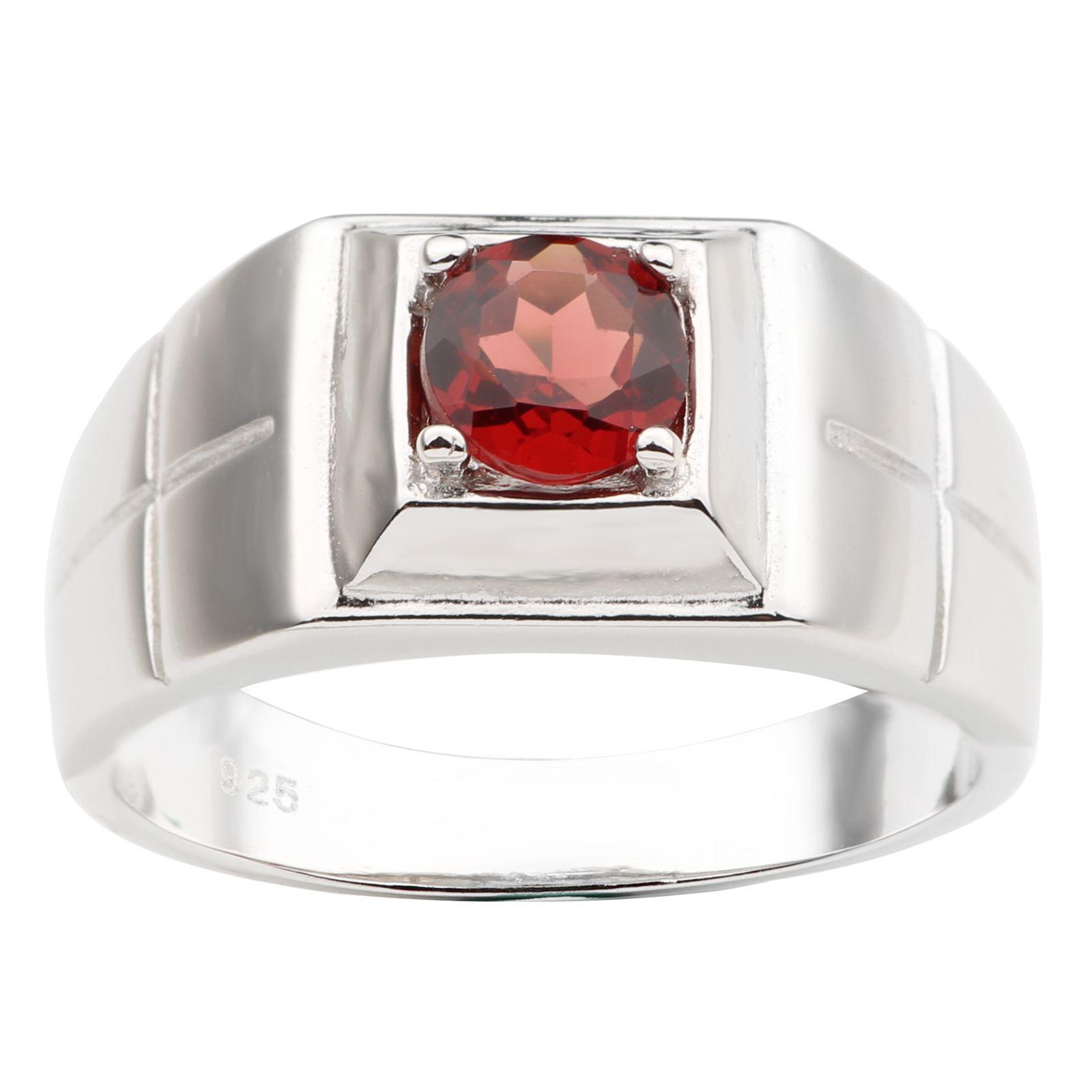 Anello da uomo in argento sterling 925 naturale rosso granato croce intaglia 6mm forma rotonda vera gemma di cristallo gennaio Birthstone regalo di compleanno R508RGN