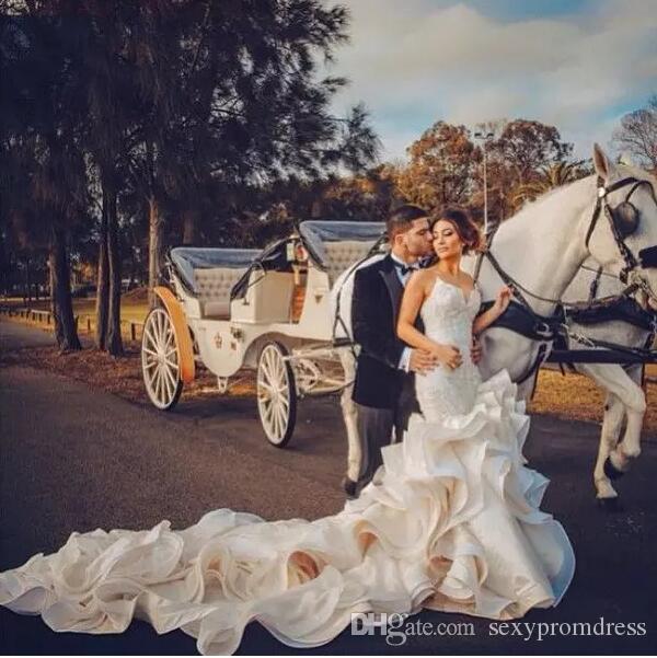 Очаровательная милая Русалка свадебные платья кружева оборками длинный поезд рукавов спинки труба свадебные платья 2019 Vestido де Novia