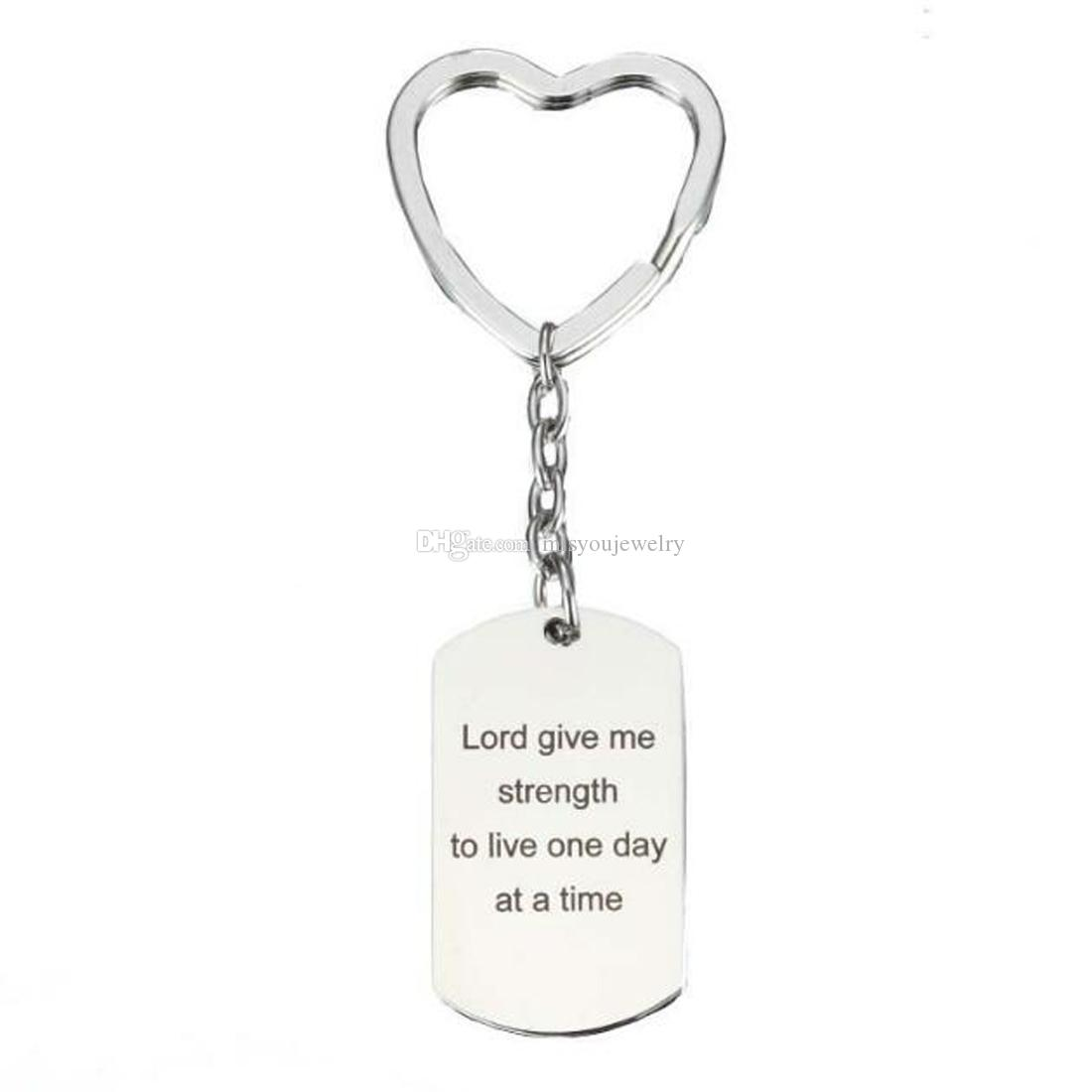 Fashion jewelry accessories Silver fine Lord give me strength to live one day at a time Keychain, Inspirational Keychain