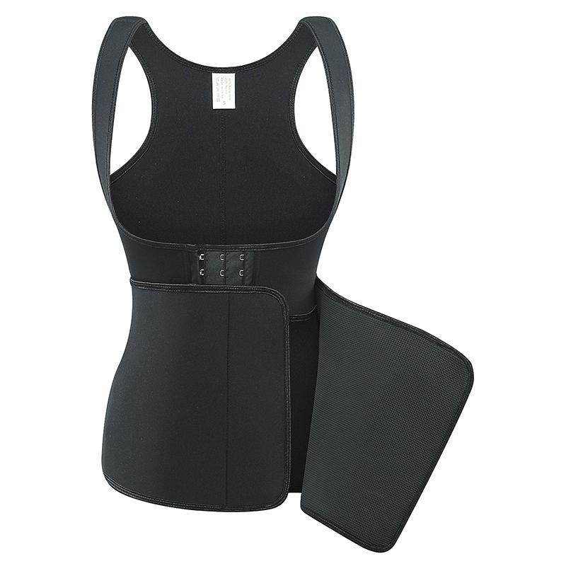 Body Shaper Women Belly Control Slimming Corset Underbust Sauna Vest Black Double Layer Neoprene Shapewear Waist Trainer Plus Size
