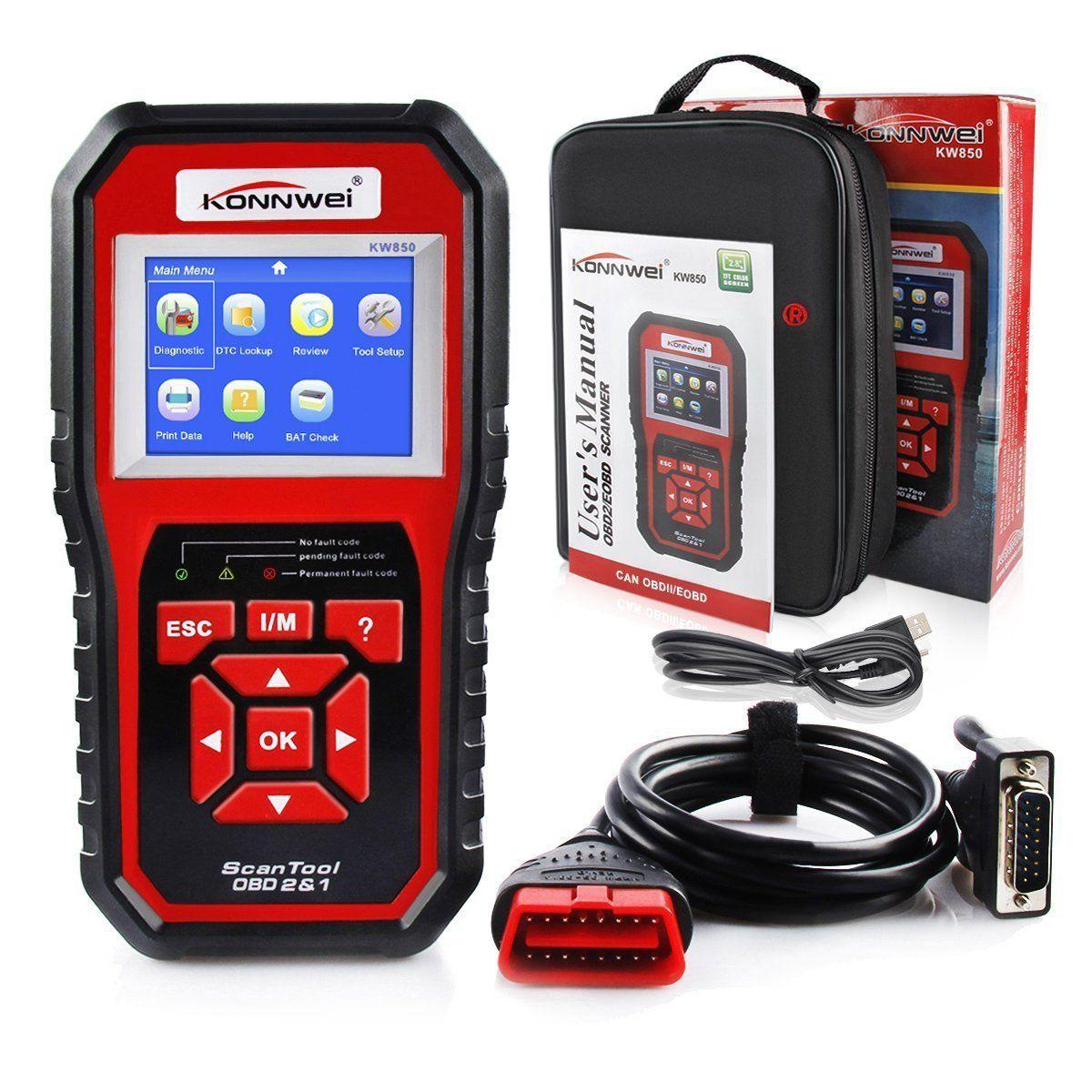새로운 KONNWEI KW850 OBDII OBD2 EOBD 자동차 자동 코드 리더 진단 스캐너 도구 12 볼트 소매 상자 UPS DHL 무료 배송