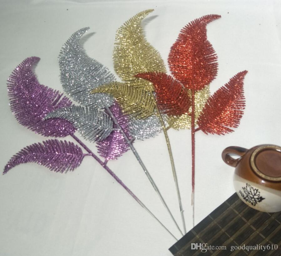 Design-3 20pcs 35cm Glitter Poudre Forme De Prêle Feuille Branche Composition florale Pour La Fête De Noël Arbre Venun Suspendu