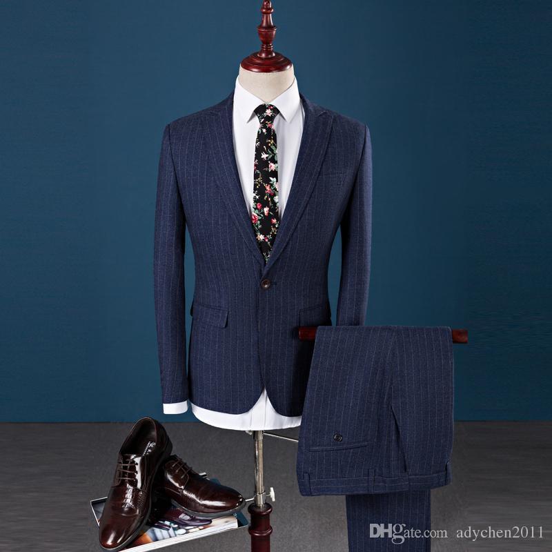 빈티지 웨딩 정장 남성 턱시도 3 조각 정장 Esmoquin Hombre 스트라이프 비즈니스 정장 Luxury Terno Slim Fit 2018 Jacket + Pants + Vest