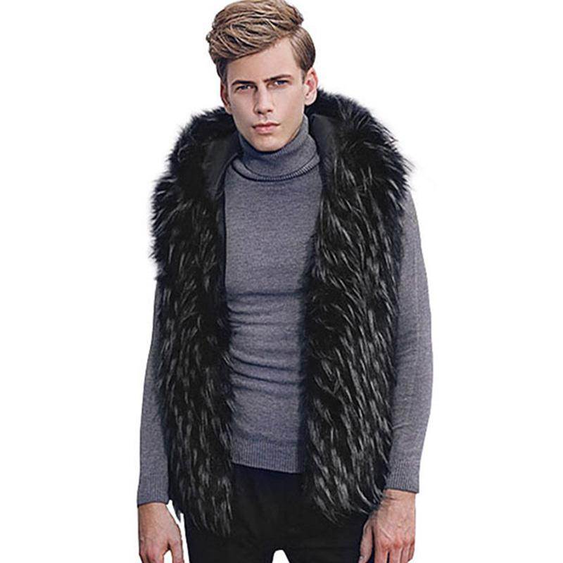 جديد الشتاء فو الفراء سترة الرجال هوديي مقنع سميكة الفراء الدافئة الصدريات أكمام معطف قميص الذكور سترة زائد الحجم 6Q2100