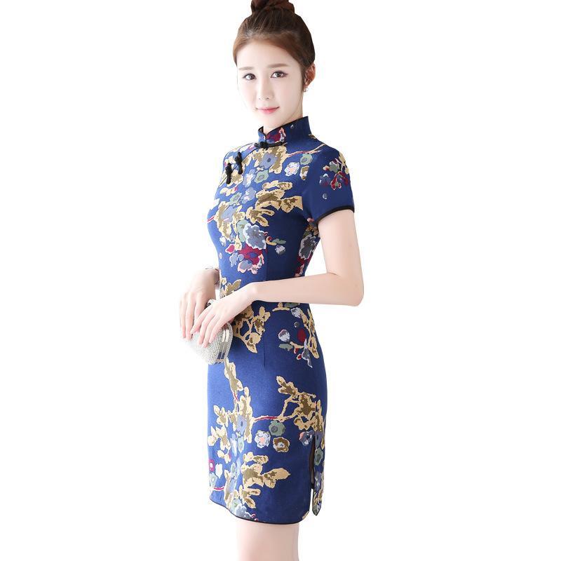 2018 neue Sexy Print Frauen Blume Qipao Sommer Handgemachte Taste Split Kleid Kurzarm Chinesische Stehkragen Cheongsam S-3XL
