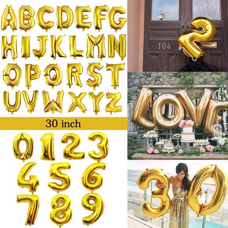 32 polegada de ouro número de prata balões de folha de alumínio cartas de hélio Ballons decoração de aniversário de casamento fontes do partido de balão de ar