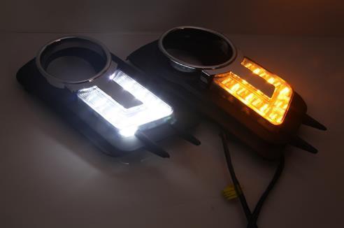 1PAIR DRL لفولكس واجن فولكس فاجن تيجوان 2010 2011 2012 النهار تشغيل أضواء الضباب غطاء الرأس مصباح ضوء النهار