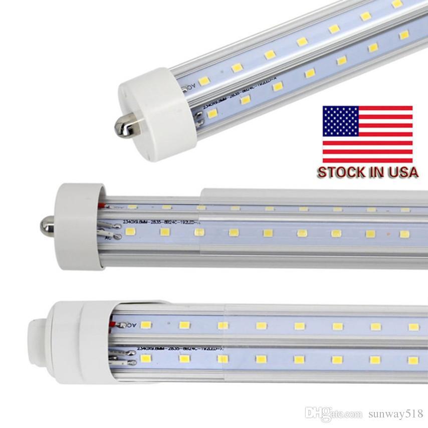 8 pies de un solo pin FA8 LED T8 Luces de tubo en V en forma de R17D 8 pies LED Tubos fluorescentes Light AC 85-265V + Stock en Estados Unidos
