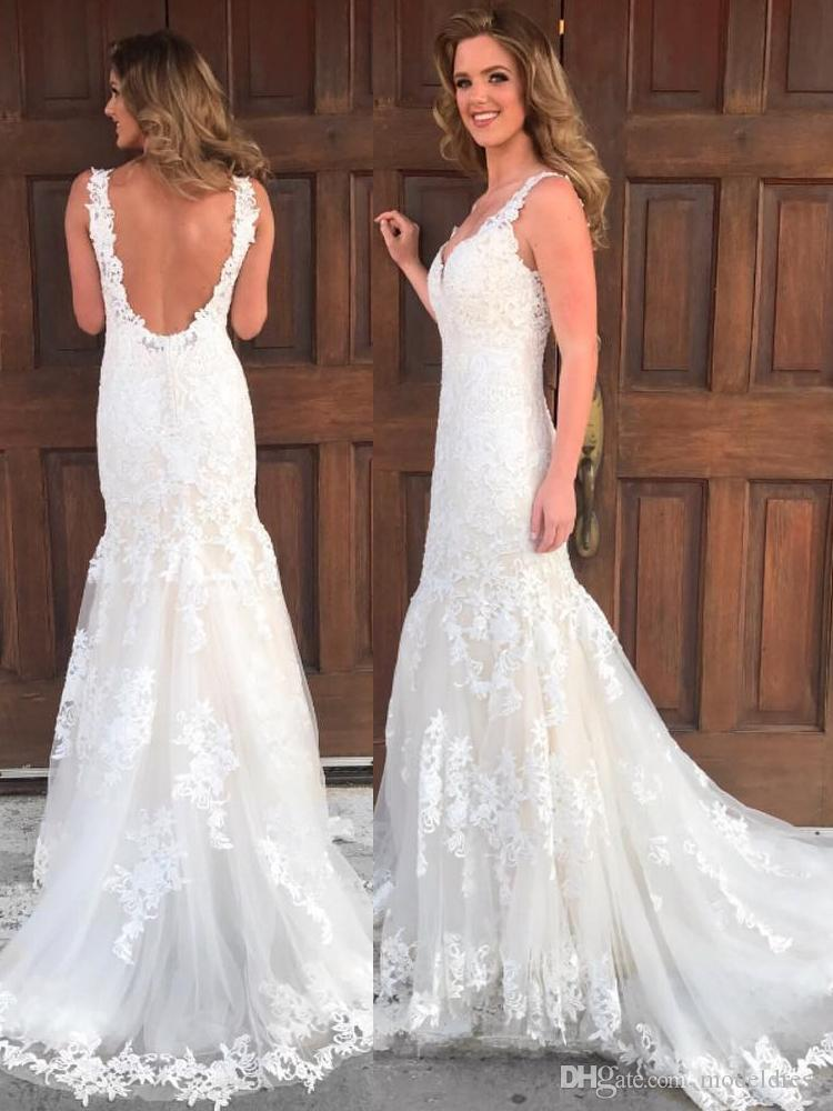 Sirène Backless Robes de mariage Made in China dentelle col en V 2018 Appliques Printemps Eté Nouvelle arrivée Robes de mariée Robe de Novia