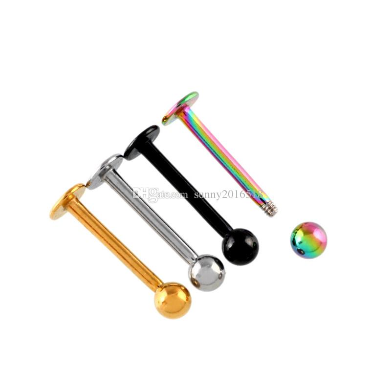 Punk 16G Stainless Steel Lip Piercing Bar Ball Labret Ring Stud Ear Tragus Chin Body Jewelry 6/8/10/12mm