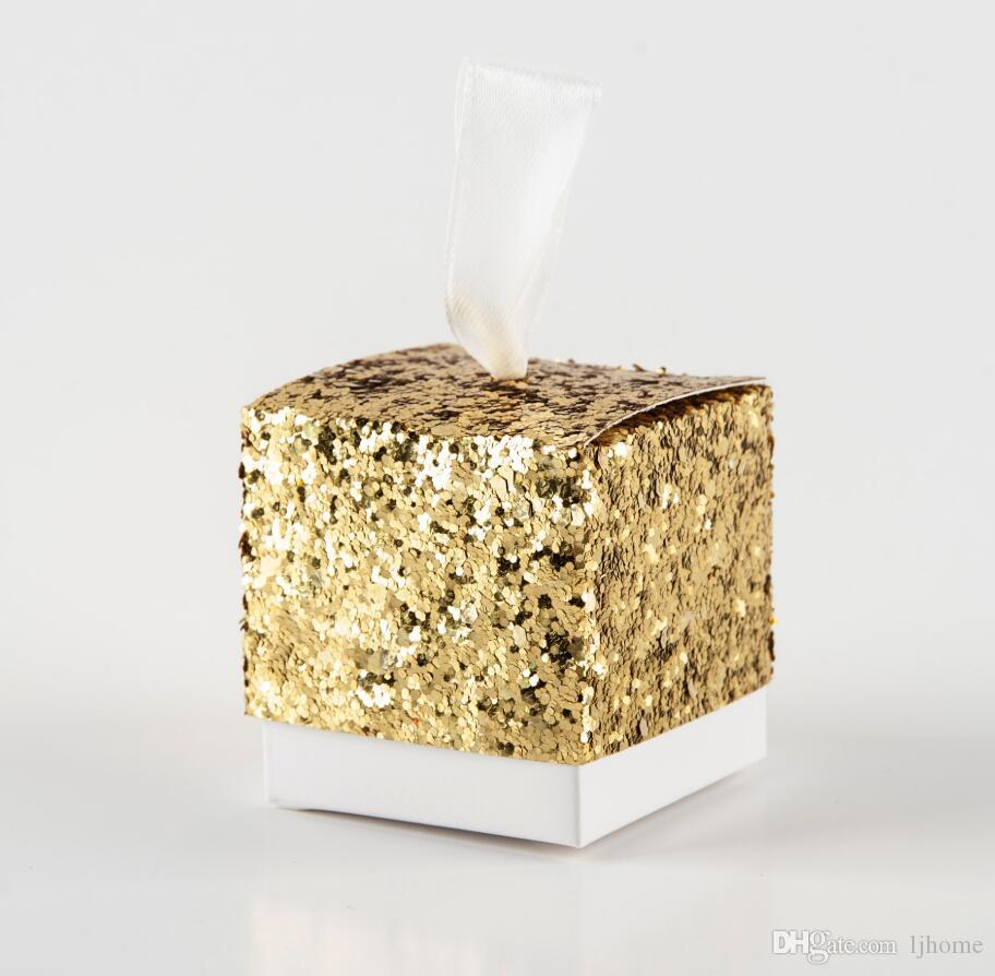 100 Stücke 2019 Neue Shinny Süßigkeitskästen Hochzeitsfestbevorzugungen Und Geschenke Pralinenschachtel All That Glitters Gold Glitter Favor Box Für Gast