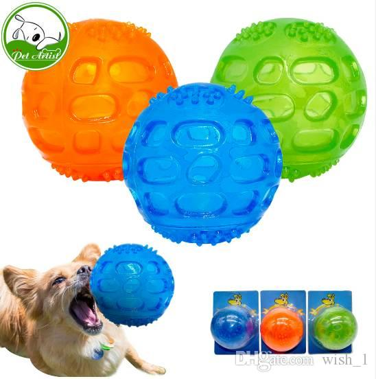 Pet Dog Chew Toy Ball Waterproof Squeak Sound Toys Bite Resistant Teeth Balls For Dogs Training Tooth Cleaning Blue Green Orange