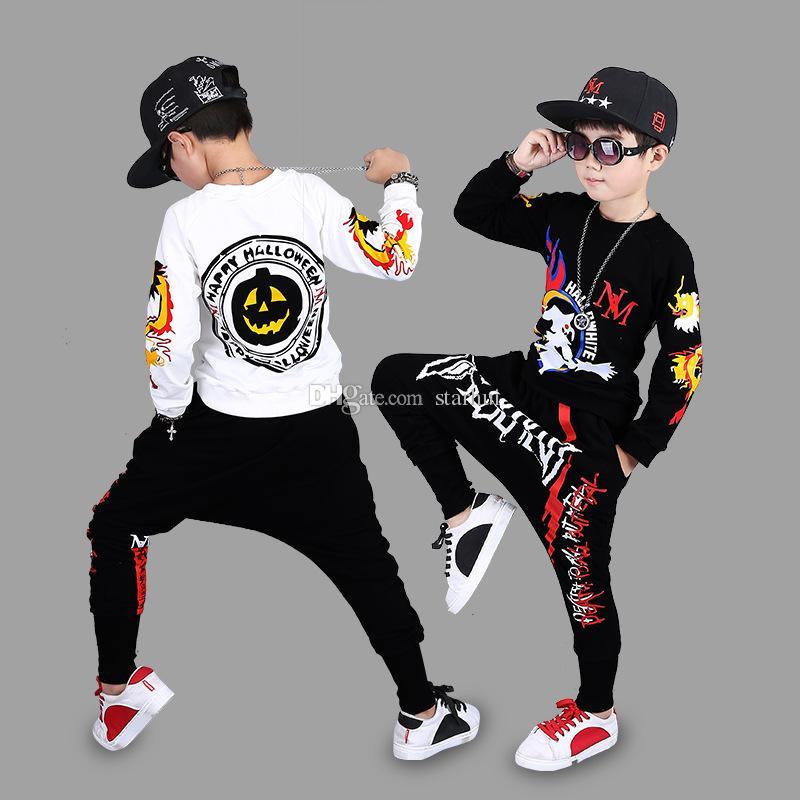 detailing 30409 5b2eb Acquista Vestiti Di Halloween Imposta Ragazzi Hip Hop Abbigliamento  Sportivo Il Tempo Libero Imposta Stampa Cartoon Abiti In Cotone  Abbigliamento La ...