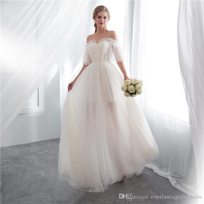 Großhandel Schulterfrei Tulle Open Zurück Brautkleider Kleine Zug Eine Linie Halbarm Brautkleid Empfang Party Kleid Von Everlastinglovedress, $106.54