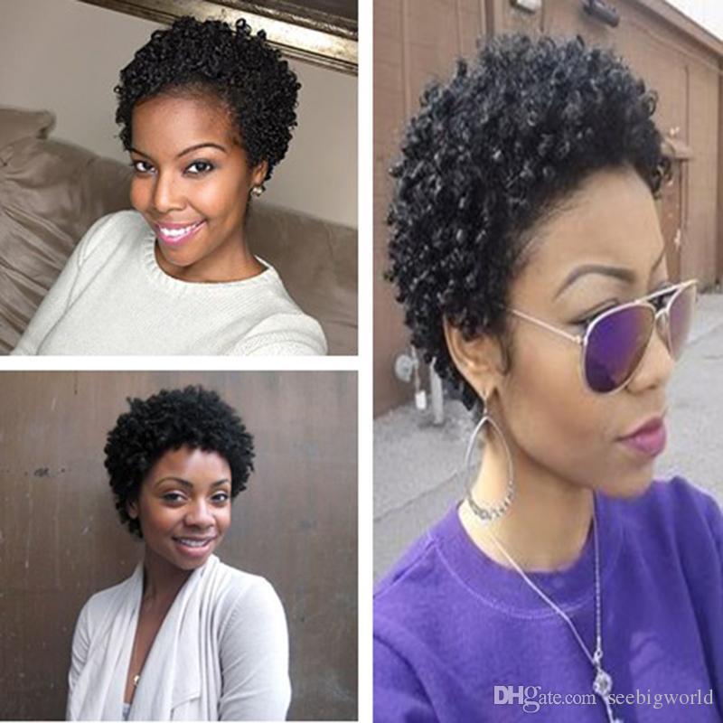 Cheveux brésiliens de haute qualité, perruque frisée, cheveux brésiliens, courte perruque frisée, simulation, cheveux humains, en stock