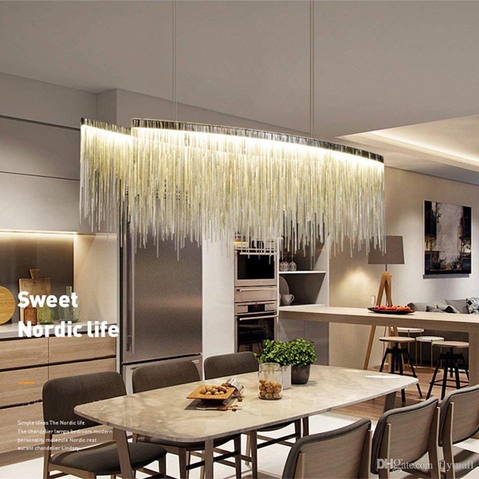 Compre Moderna Lámpara De Aluminio Lineal Lámpara Colgante De Luz Araña  Contemporánea Accesorio De Iluminación Para El Hotel Hall Comedor En Casa  ...